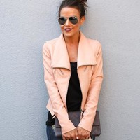 No Limits Faux Leather Moto Jacket - Mauve