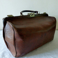 Stunning MOYNAT PARIS French Antique Luxury Leather Travel Bag, Doctor Bag,19th Century
