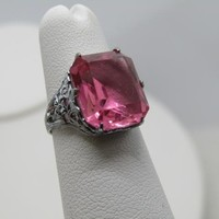 Vintage Pink Art Deco Filigree Ring, Size 4.5, Silver Plated, signed A with Arrow, 1950's-1960's