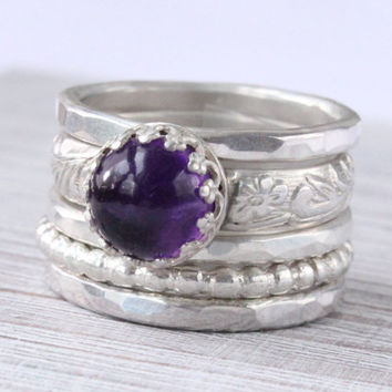 Amethyst ring, Stacking rings, Sterling silver, Stackable, Purple ring, Set of five, Size 7, February birthstone, Etched Pattern ring