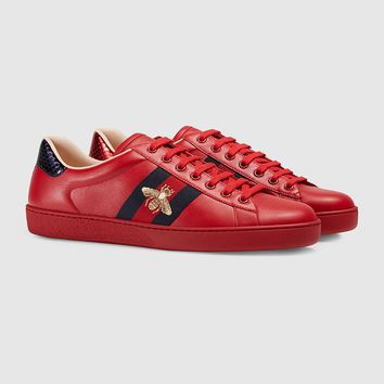 Gucci Ace Bee Embroidered Red Leather Low-top Sneaker