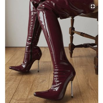 Patent Leather High Heel Over Knee Boots