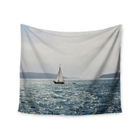 "Jillian Audrey ""Sail the Sparking Seas"" Blue Gray Wall Tapestry"