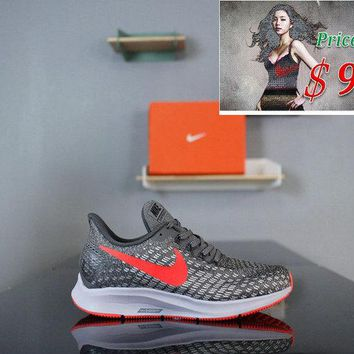 2018 How To Buy Nike Air Zoom Pegasus 35 Mesh Breathable Running Shoes Black Grey Red 942851-006 shoe