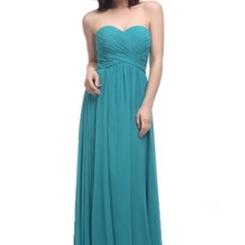 Shirred Sweetheart Full Length Bridesmaid Dress