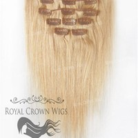 Brazilian 9 Piece Straight Human Hair Weft Clip-In Extensions in #16