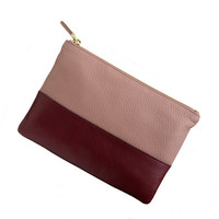 Colorblock leather pouch - small leather goods - Women's accessories - J.Crew