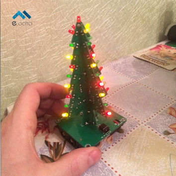 Three-Dimensional 3D Christmas Tree LED DIY Kit Red Green Yellow LED Flash Circuit Kit Electronic Fun Suite Christmas Gift