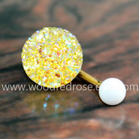 Sparkling belly ring,blingbling belly button ring,Yellow Navel,Yellow Navel Piercing Ring Stud Piercing