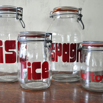 Vintage Glass Storage Jars with Red Lettering, Swing Top Jars, Spaghetti Rice Miscellaneous Leftover Jars, Kitchen Canisters, Mid Century