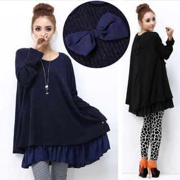ONETOW Autumn and winter large size women's casual loose maternity dress back bow was thin dress for pregnant women = 1946420548