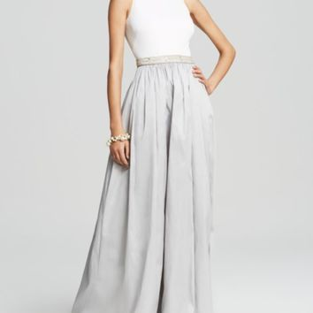 Aidan Mattox Gown - Sleeveless Color Block Taffeta Ball | Bloomingdales's