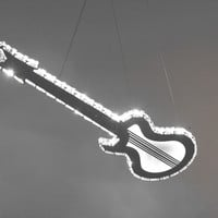 Crystal Guitar Design LED Pendant Light Max 8W with 9 Lights Plating Finish