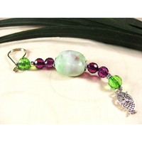 Beaded Key Ring, Handcrafted, with Green and Purple Chunky Ceramic Square and Owl Charm