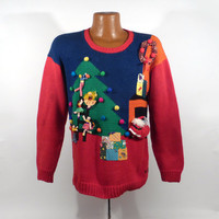 Ugly Christmas Sweater Vintage Living Room Santa 3D Holiday Tacky Party Women's size M Raquel