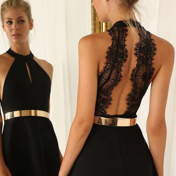 Women's Black Sleeveless Halter Contrast Lace Backless Dress