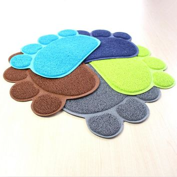 Cat Pawprint Placemat For Litter or Feeding Dish / Easy Cleaning