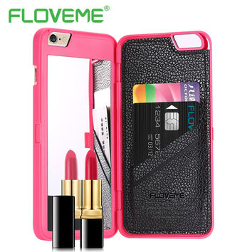 FLOVEME Luxury Mirror Phone Cases For iPhone 6 6S Plus Card Slot Holder Back Covers For iPhone 6 6Plus 6S 6SPlus Case Capa Coque