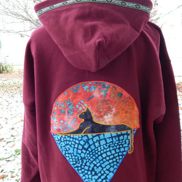 Mens Upcycled Zip Up Maroon Grateful Dead Cats Under Stars L Large Mens Hippie clothes, hoodie, recycled hoodie, zip up hoodie, guys hoodie