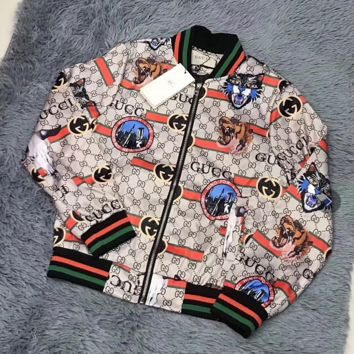 GUCCI Women Chic Print Long Sleeve Zipper Cardigan Jacket Coat