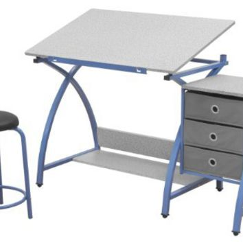 Comet Center with Stool in Blue / Spatter Gray