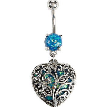 14G Steel Blue Foil Filigree Heart Navel Barbell