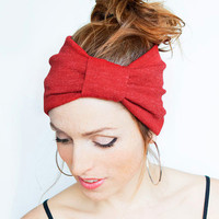 Red Knit Turban Knit Red Headband Stretch Yoga Hair band Red Boho Headband Red Head Wrap Hairband Wide Headband Christmas gift idea
