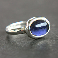 Iolite Ring Sterling Silver Water Sapphire Iolite Ring Made in Your Size 4,5-7 Modern Iolite Oval Shape Ring September Birthstone Ring