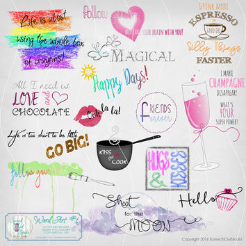 Clip Art, Word Art, Typography Clipart, Paper Craft Supplies, Scrapbooking, Journaling, Card making, Instant Digital Download,