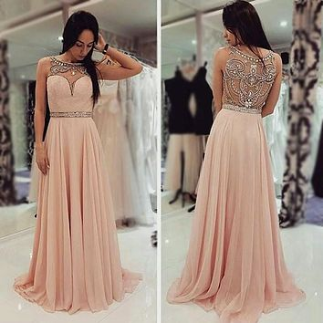 Custom Made Crystal Beading Handmade Chiffon Evening Dresses Boat Neck See Though Back Many Colors Prom Gowns JB1019