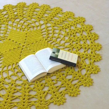 Yellow mustard giant crochet doily rug, floor crochet,Lace large area round rug,table center,Oversize,Rustic chic home decor. Ready to ship.