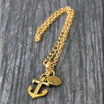 Gold Anchor Charm Bracelet, Initial Charm Bracelet, Personalized Bracelet, Nautical Charm, Letter Stamped Charm, Anchor Jewelry