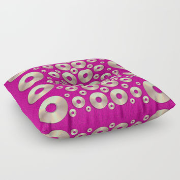 Going gold or metal on fern pop art Floor Pillow by Pepita Selles
