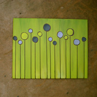 Circles in Lime Green - 16x20 Canvas Painting
