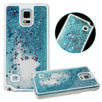 Case for Samsung Galaxy S5,Hard Case for Samsung Galaxy S5,UZZO™ Transparent Plastic 3D Case Flowing Liquid With Paillette Star and Glitter,Bling Case for Samsung Galaxy S5