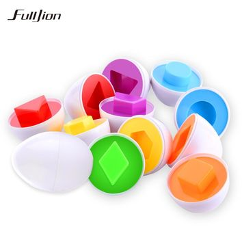 Fulljion Learning Education Toys 6 Smart Egg/Set Wise Pretend Play Mixed Shape Puzzle For Children Toys Kids Tools Brain Games