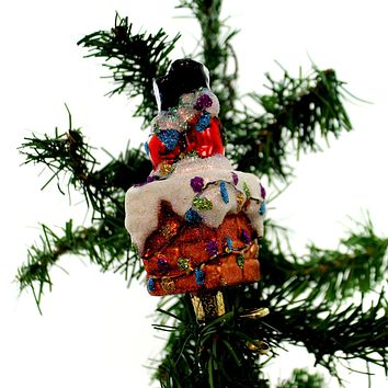Old World Christmas Oops  Santa In Chimney Glass Ornament