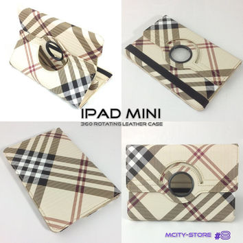 IPad Mini Cover Luxury Stripes Pattern 360 Smart Rotating PU Leather Case - Yellow Brown Red Stripes