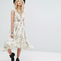 Denim & Supply by Ralph Lauren Printed Dress with Lace-Up and Ruffle High-Low Hem at asos.com