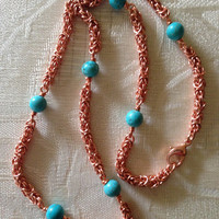 Copper&Turquoise Necklace Set, chain mail, copper necklace, chain necklace, beaded necklace, turquoise necklace