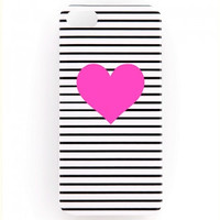 iphone 5/5s Ban.do Heart Case - Black and White Striped/Neon Pink