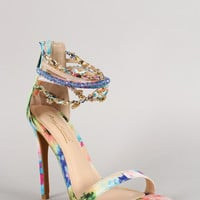Anne Michelle Watercolor Chain Ankle Strap Stiletto Heel