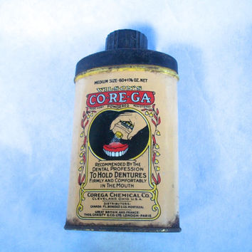 Vintage Tin Wisons Corega Dental Powder 1930s-1940s Distressed Rusted 3 And 7/8 Inches Tall