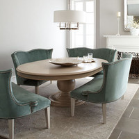 "Jeff Zimmerman Collection by Key City - ""Prudence"" Pedestal Dining Table & ""Brumley"" Velvet Banquette - Horchow"