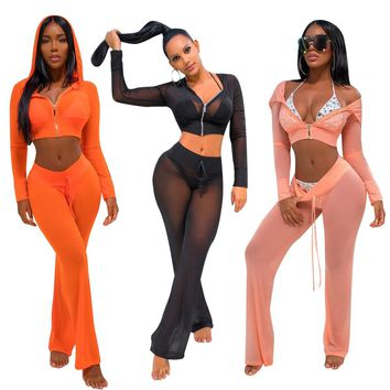 2017 Summer Autumn Brand Mesh Patchwork Tracksuit Women Stretch Sweatsuit Set Top and Pant Hallow Women Sporting Suit Set
