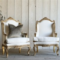 Eloquence One of a Kind Vintage Bergeres Louis XV Bright Gilt Set of 2