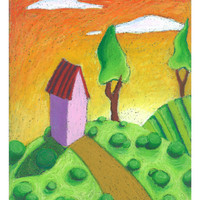 Whimsical Landscape Painting, Art Print of Original Oil Pastel Painting, 8.5 x 11, Colorful House on a Hill