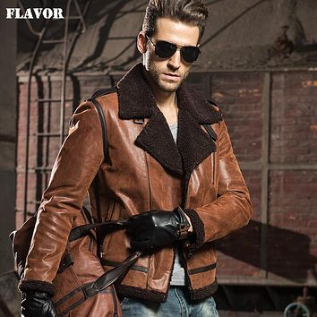 Men's Genuine Leather motorcycle real leather jackets with faux fur aviator bomber jacket winter coat