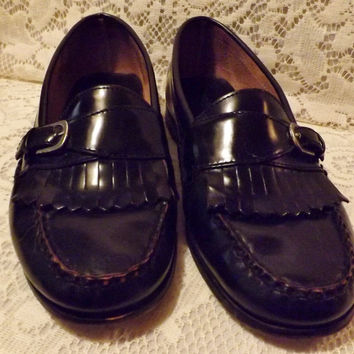80s Bostonian Mens Black Leather Loafer Fringe and Buckle  Size 9
