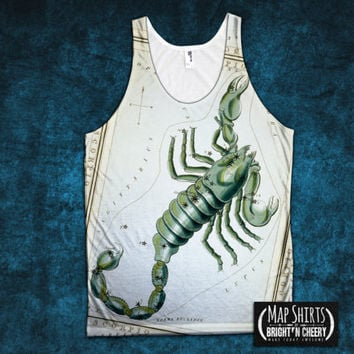 Scorpio Vintage Astrology Tank Top, scorpion, Constellation Shirt, Horoscope tanktop, All Over Print zodiac tank, scorpio birthday gift idea